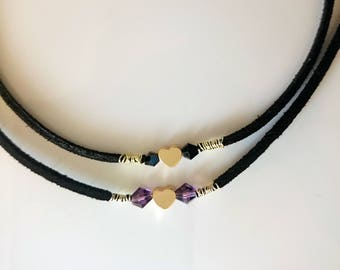Black choker with crystals and gold-filled heart