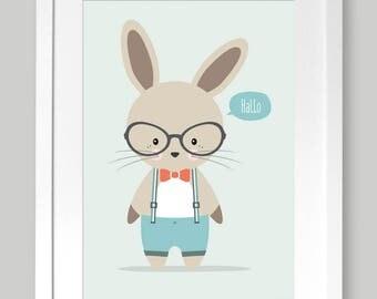 "Poster children's room A4 ""nerd Hare"""