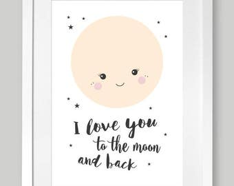 "Poster A4 nursery ""to the moon and back"""