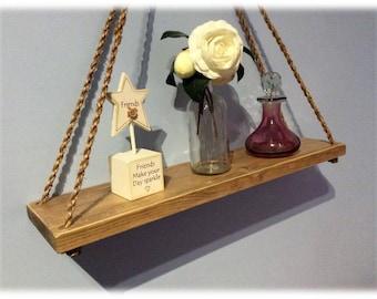 50cm Rustic Rope Shelf