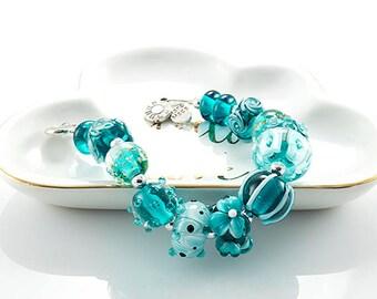 AMB* Teal Lampwork Glass Beads, *Aegean*, 14 Glass Beads, Lampwork Glass bead set, SRA
