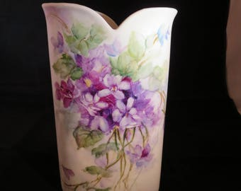 hand painted violets on 8x5 vase
