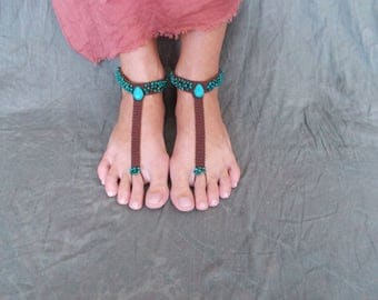 Barefoot sandals, crocheted anklet, beach wear, festival barefoot sandal, foot accesories, foot jewelry, footless sandal, beach shoes, boho