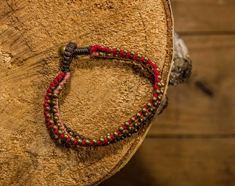 Macrame bracelet/three colors green and yellow/red/waxed thread