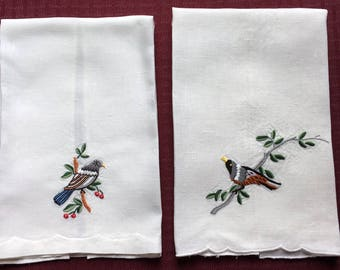 2 Vintage Linen Hand Crafted Embroidery Towels with Birds Beautiful Work 20 x 13