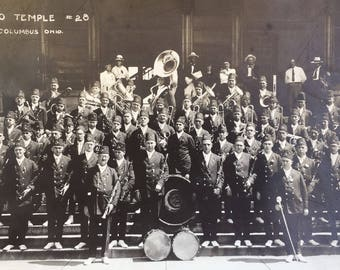 Very Early 8x10 photo of the Bakoo Temple Band #28 Columbus Oh Masonic Freemason