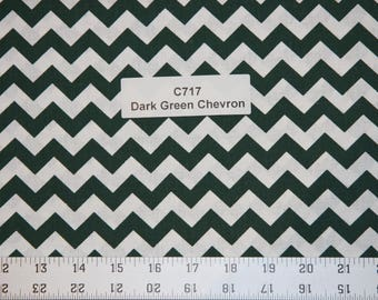 Dark Green Chevron Cotton Fabric  SHIPS FAST Chevron Cotton fabric for quilting sewing crafts clothing fabric store free shipping available