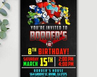 Rescue Bots Invitation, Rescue Bots Birthday Invitation, Rescue Bots Party, Tranformers Rescue Bots, Rescue Bots Birthday, Rescue Printable