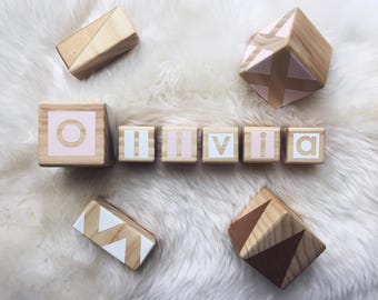 Personalised Wooden Blocks - Gold, Pink and White