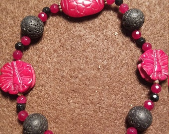 Red Carved Bead Aramotherapy Bracelet