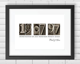 Personalised Wedding Or Anniversary Dates Gift - Print Only
