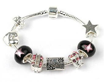 Liberty Charms Teenager's Daughter 'Rock Star Deluxe' Silver Plated Charm Bead Bracelet with Gift Box & Velvet Pouch
