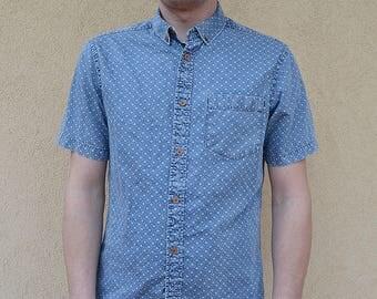 Men's Shirt Burton blue printed Menswear London cotton