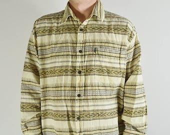 Men's shirt pattern Vintage 70s, Indian, corduroy, Ethnic, Boho, Made in Portugal