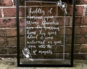 glass hand lettered frame