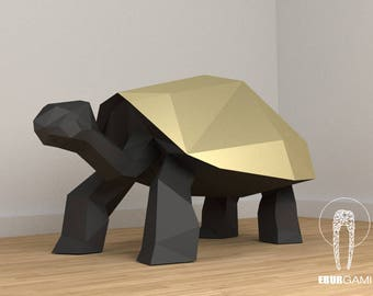 Turtle 3D, 3D Papercraft, 3D Template, Sculpture Decor, Paper Turtle, Gift Party, DIY Papercraft 3D, Eburgami