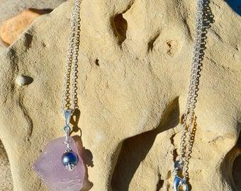Blue/Purple Lake Michigan Beach Glass Necklace
