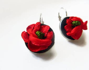 Embroidered Womens black red poppy flower dangle earrings Small fabric button earrings for her Vintage flower earrings Embroidered jewelry