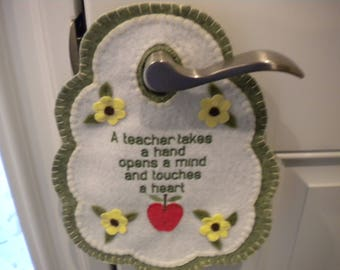 Teacher gift, wool felt, wall decor, door knob hanger, home decor