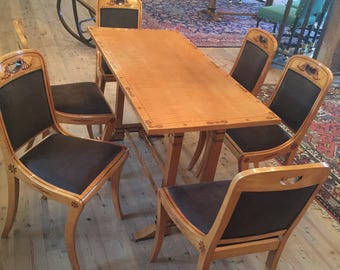 European Antiques, dining, table, chairs