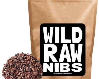 Wild Raw Nibs, Fair Trade Organically Grown Cacao Nibs, Single-Origin, Gluten-Free, non-GMO Chocolate Superfood