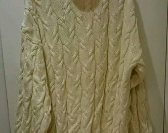 Club Monaco Cream Cable Knit Fishermen's Sweater Turtle Neck Moch Neck  Size Large