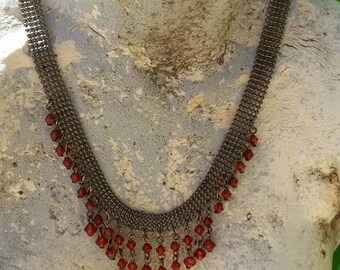 Victorian Gothic style red dangle chocker necklace