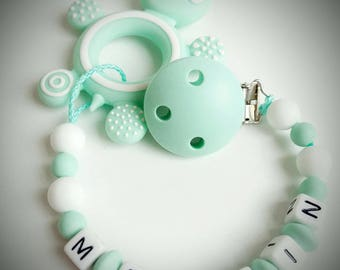 "Home teeth ""turtle"" Mint color and white silicone - model ""Melvin"""