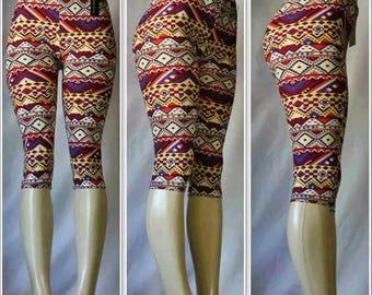 Colorful Aztec Print Capri Leggings