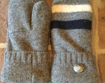 Wool Sweater Mittens Gray Multi Color Striped