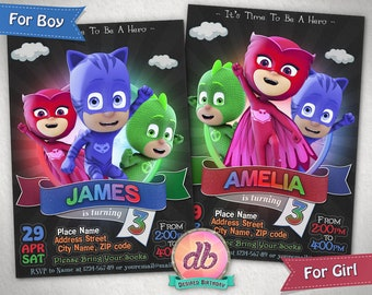 Pj Masks Invitation, Pj Masks Birthday Party, Super Hero, Cartoon, It's Time To Be a Hero, Personalized, Printable, Chalkboard, Digital File