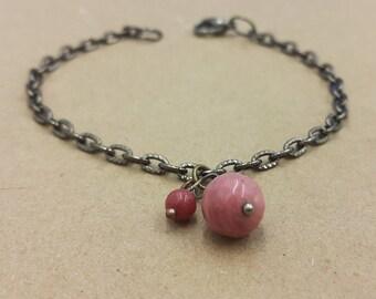 Beaded bracelet / Gemstone bracelet / Gemstones / Rhodonite bead / Nephrite bead / Gift / For her / Handmade