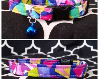 Geometric Rainbow Dog Collar / Martingale