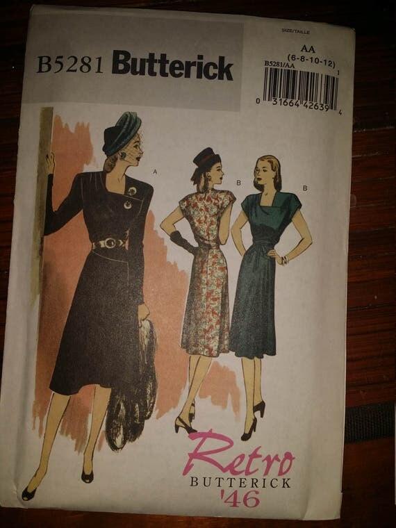 vintage Retro 1943 Pattern  B5281 Butterick Sz 6-8-10-12