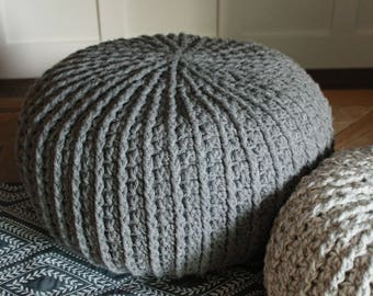Large Crochet Pouf Cushion, Ottoman, Pillow, Stuffed!