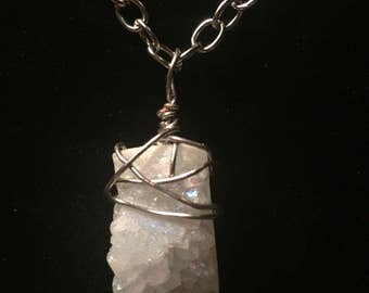 White druzy wire wrapped stone necklace