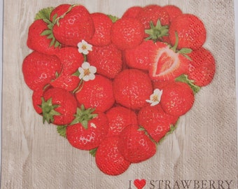 Decoupage Paper Napkins x4 Strawberry Heart for Decoupage Scrapbooking Craft 047