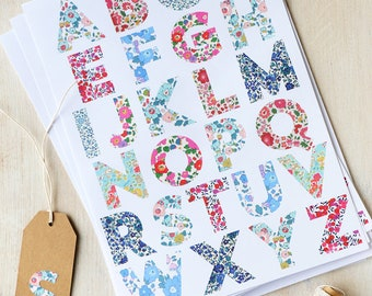 Alphabet Stickers   Letters for Personalisation   Floral Liberty Print