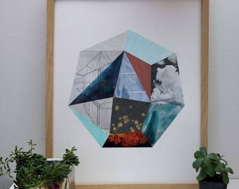 Geometric Collage Print Heptagon