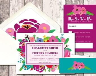 Flower Burst Wedding Invitation