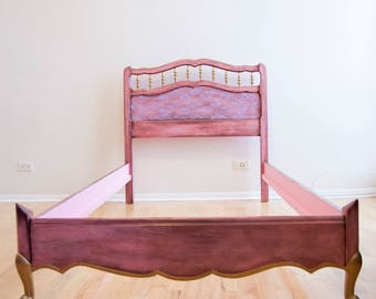 Email for shipping quote. See below. Bed Frame, Headboard, Twin Bed, Twin Bed Frame, Kids bed, kids furniture, Handpainted, Room Decor