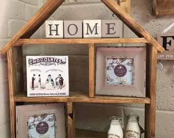 Wooden shelf unit display home decorative storage
