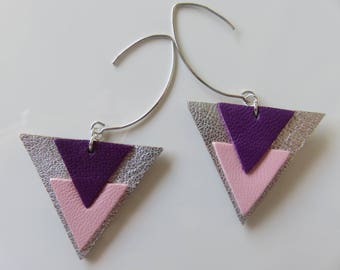 "Earrings ""Cleya"", triangles in silver leather, pink and purple"