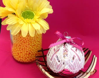 Breast Cancer Lace Glass Ornament