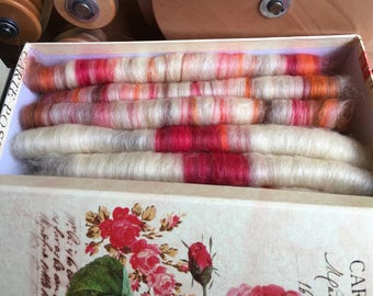 Rolags, 100g, Free Project Box, Organically Farmed, Devon Wensleydale, Indie dyed, Hand dyed, Natural, Red, Orange, Brown, OOAK.