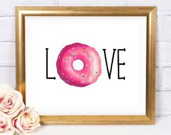 Donut Love Printable, Instant Download, Donut Poster, Girl Birthday, Girl Donut Party, Donut Birthday Party Sign, Donut Decorations