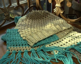 Gray and Blue Beanie with matching Scarf