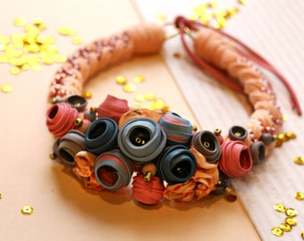 Light pink and gray choker necklace from polymer clay flowers, textil flowers, beads and coton strings