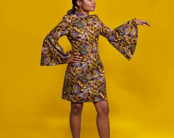 Ankara Flared Sleeves Dress