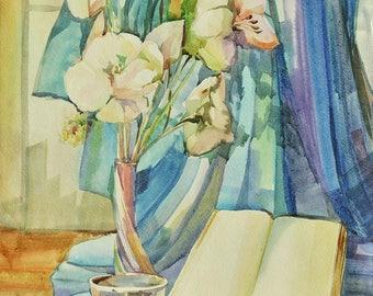 Still Life, Book - Original Watercolour Home Decor